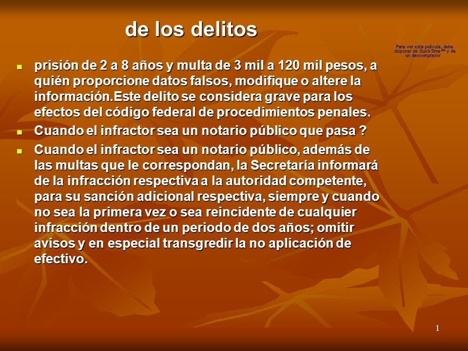 1 de los delitos prisión de 2 a 8 años y multa de 3 mil a 120 mil pesos, a quién proporcione datos falsos, modifique o altere la información.Este delito se considera grave para los efectos del código federal de procedimientos penales.