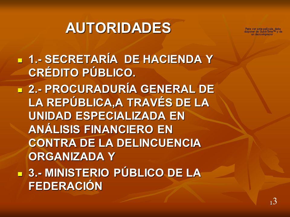 1 AUTORIDADES 1.- SECRETARÍA DE HACIENDA Y CRÉDITO PÚBLICO.