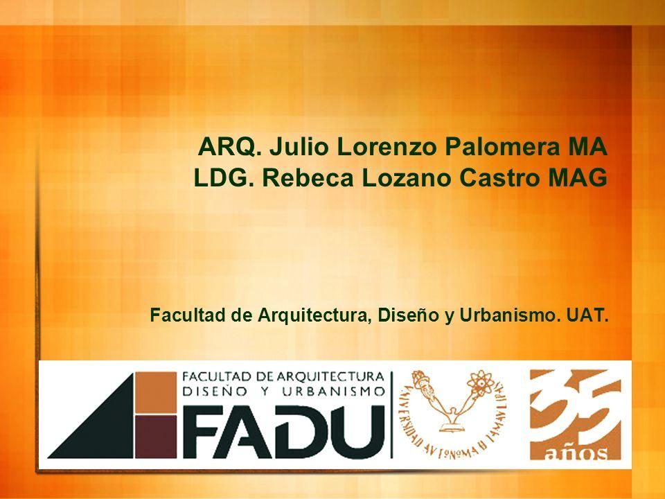 ARQ. Julio Lorenzo Palomera MA LDG. Rebeca Lozano Castro MAG Facultad de Arquitectura, Diseño y Urbanismo. UAT.