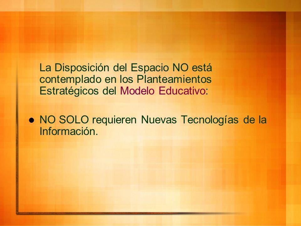 La Disposición del Espacio NO está contemplado en los Planteamientos Estratégicos del Modelo Educativo: NO SOLO requieren Nuevas Tecnologías de la Inf