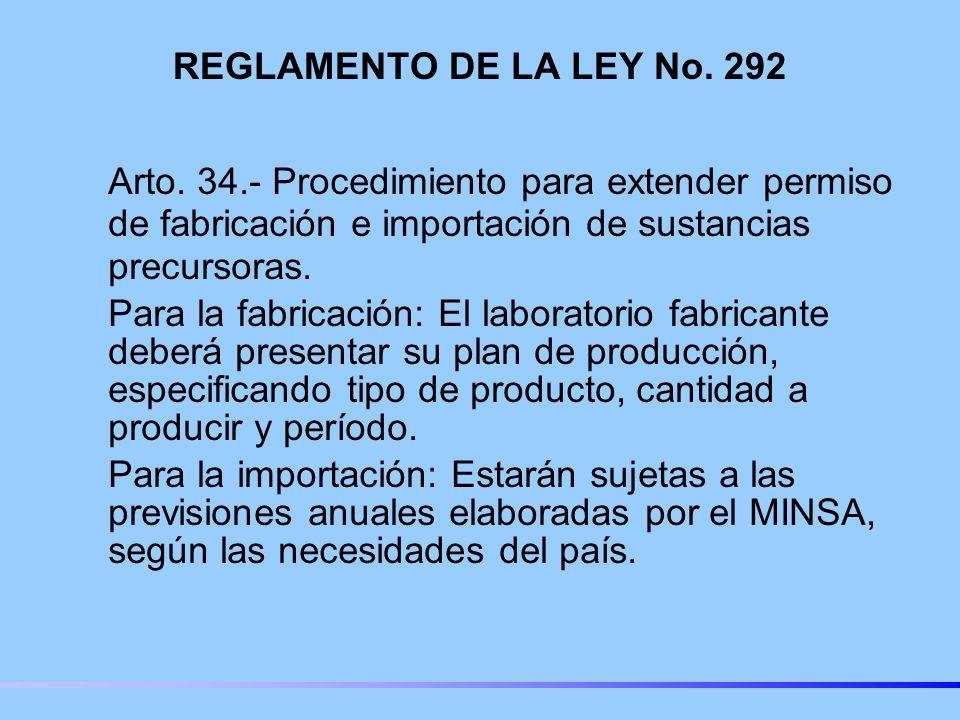 REGLAMENTO DE LA LEY No.292 Arto.