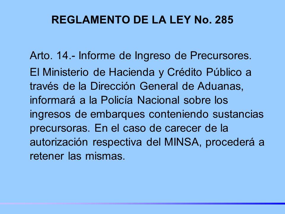 REGLAMENTO DE LA LEY No.285 Arto. 14.- Informe de Ingreso de Precursores.