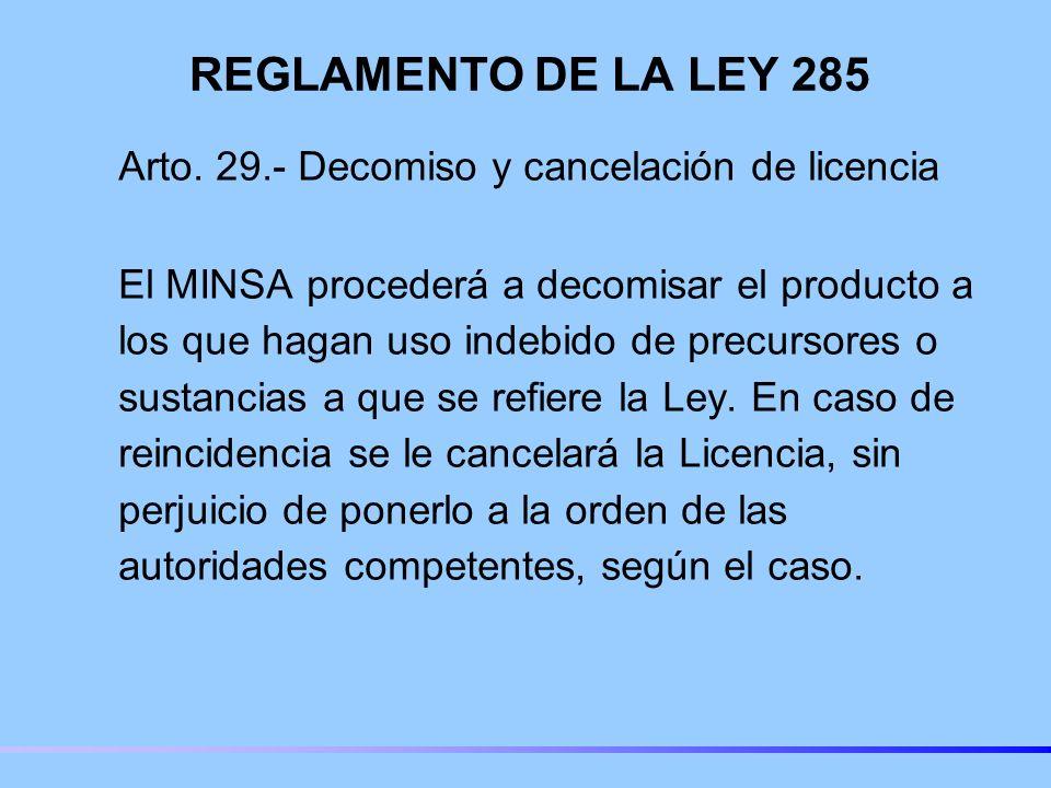 REGLAMENTO DE LA LEY 285 Arto.
