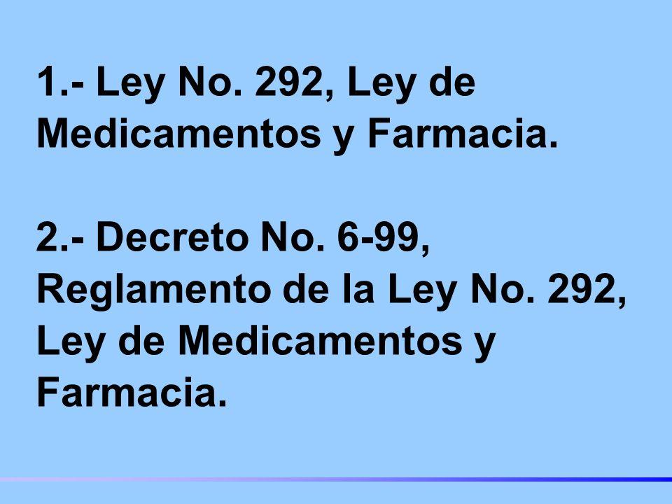 1.- Ley No.292, Ley de Medicamentos y Farmacia. 2.- Decreto No.