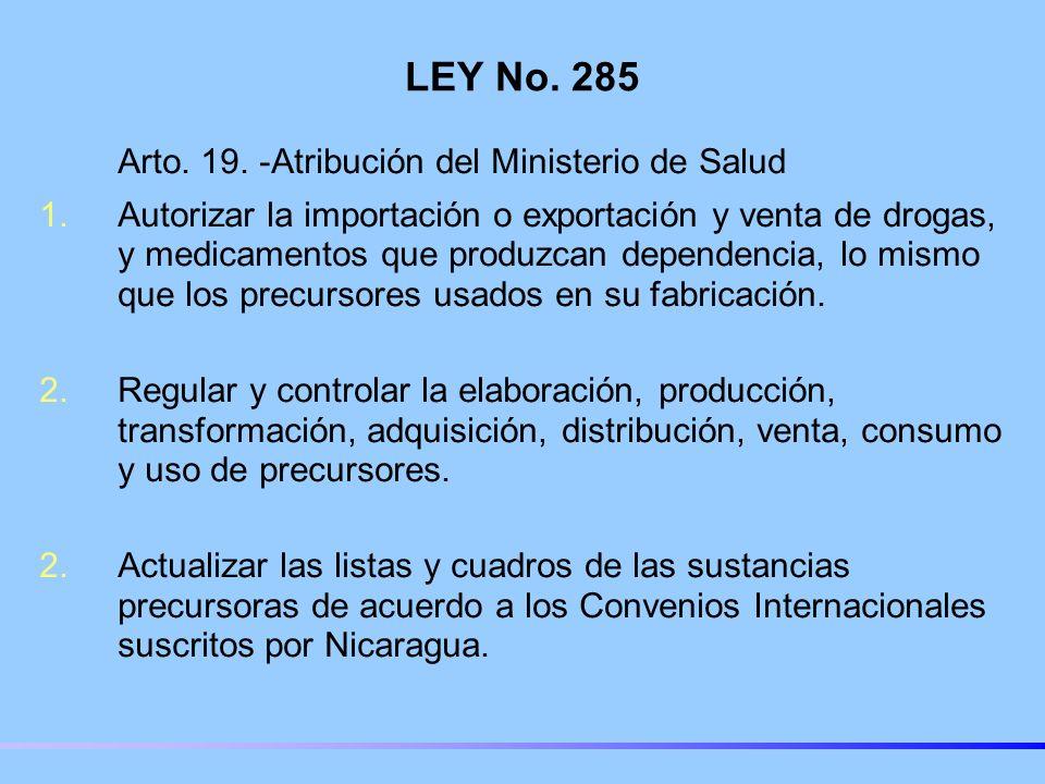 LEY No.285 Arto. 19.