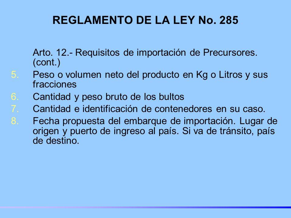 REGLAMENTO DE LA LEY No.285 Arto. 12.- Requisitos de importación de Precursores.