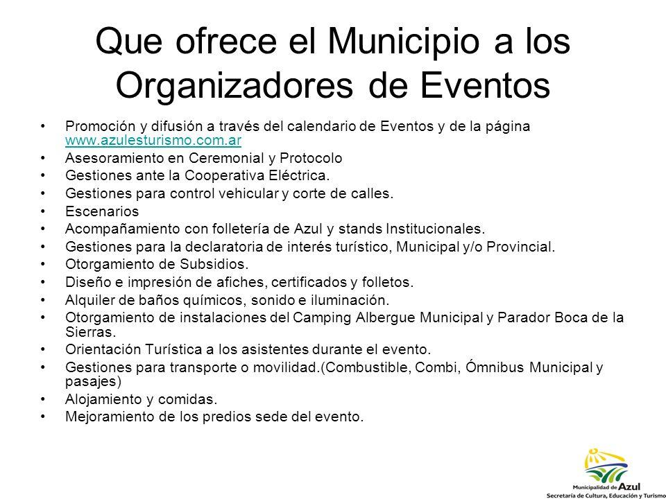 Que ofrece el Municipio a los Organizadores de Eventos Promoción y difusión a través del calendario de Eventos y de la página www.azulesturismo.com.ar