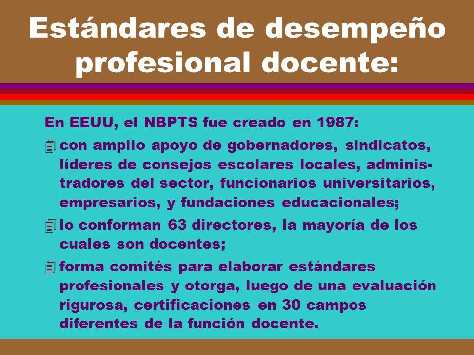 Estándares de desempeño profesional docente: En EEUU, el NBPTS fue creado en 1987: 4con amplio apoyo de gobernadores, sindicatos, líderes de consejos