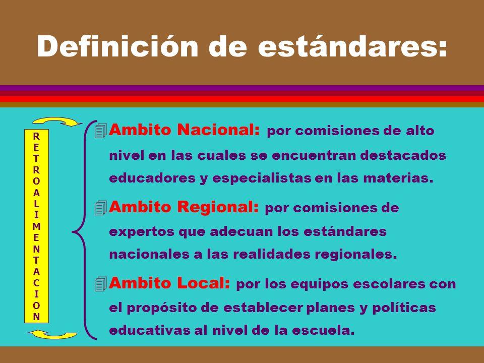 Definición de estándares: 4Ambito Nacional: por comisiones de alto nivel en las cuales se encuentran destacados educadores y especialistas en las mate