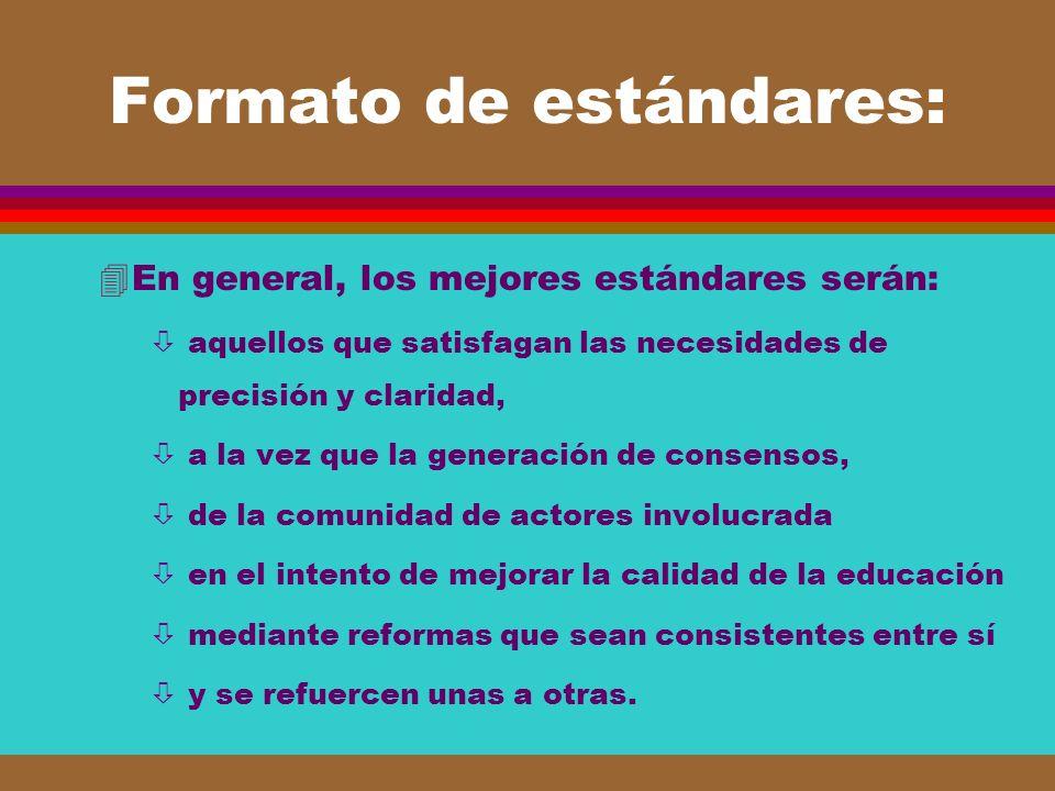 Formato de estándares: 4En general, los mejores estándares serán: ò aquellos que satisfagan las necesidades de precisión y claridad, ò a la vez que la