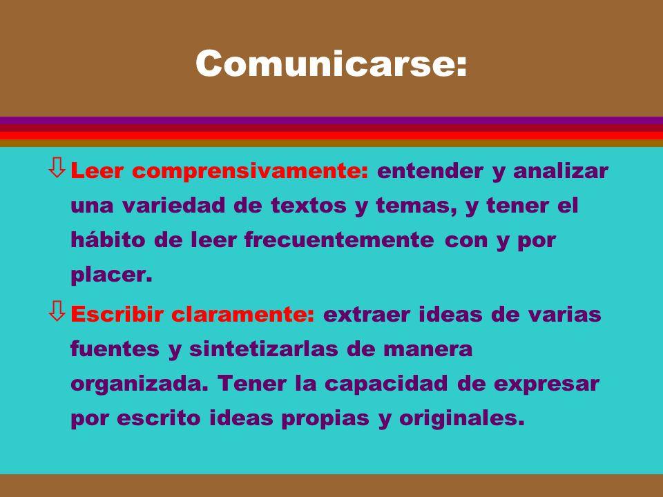 Comunicarse: ò Leer comprensivamente: entender y analizar una variedad de textos y temas, y tener el hábito de leer frecuentemente con y por placer. ò