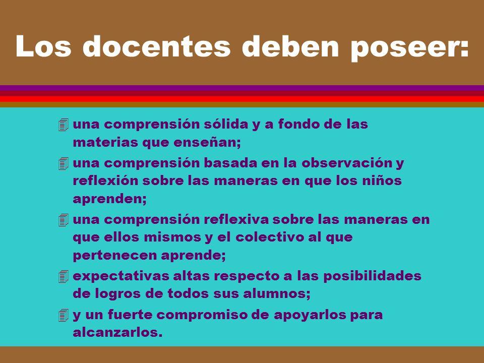 Los docentes deben poseer: 4una comprensión sólida y a fondo de las materias que enseñan; 4una comprensión basada en la observación y reflexión sobre