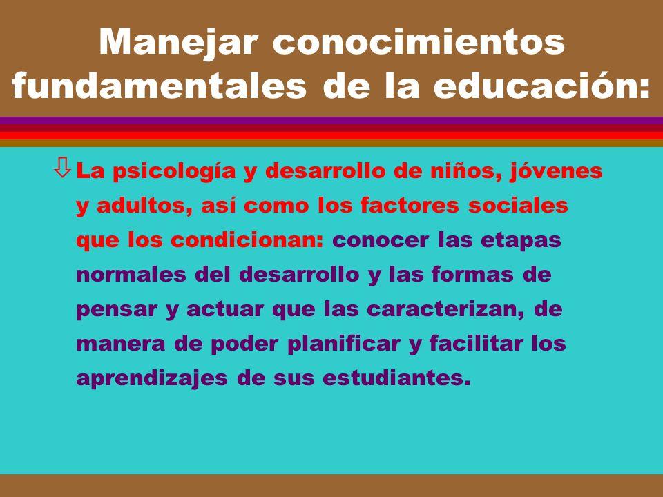 Manejar conocimientos fundamentales de la educación: ò La psicología y desarrollo de niños, jóvenes y adultos, así como los factores sociales que los