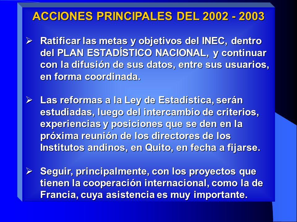 ACCIONES PRINCIPALES DEL 2002 - 2003 Ratificar las metas y objetivos del INEC, dentro del PLAN ESTADÍSTICO NACIONAL, y continuar con la difusión de sus datos, entre sus usuarios, en forma coordinada.