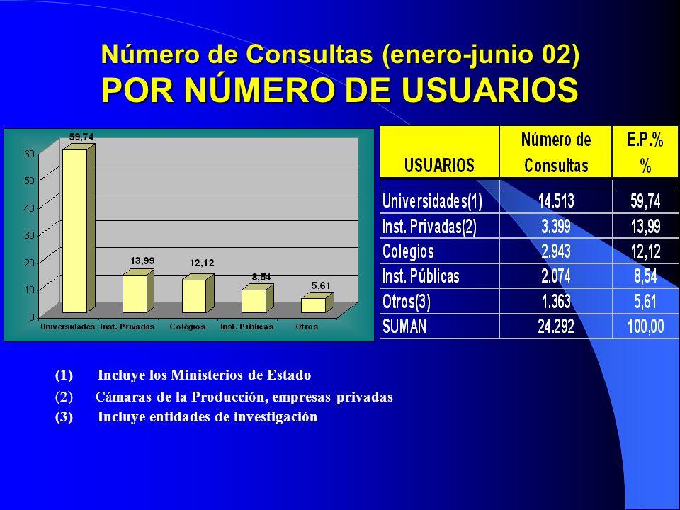 Número de Consultas (enero-junio 02) POR NÚMERO DE USUARIOS (1)Incluye los Ministerios de Estado (2) Cámaras de la Producción, empresas privadas (3)Incluye entidades de investigación