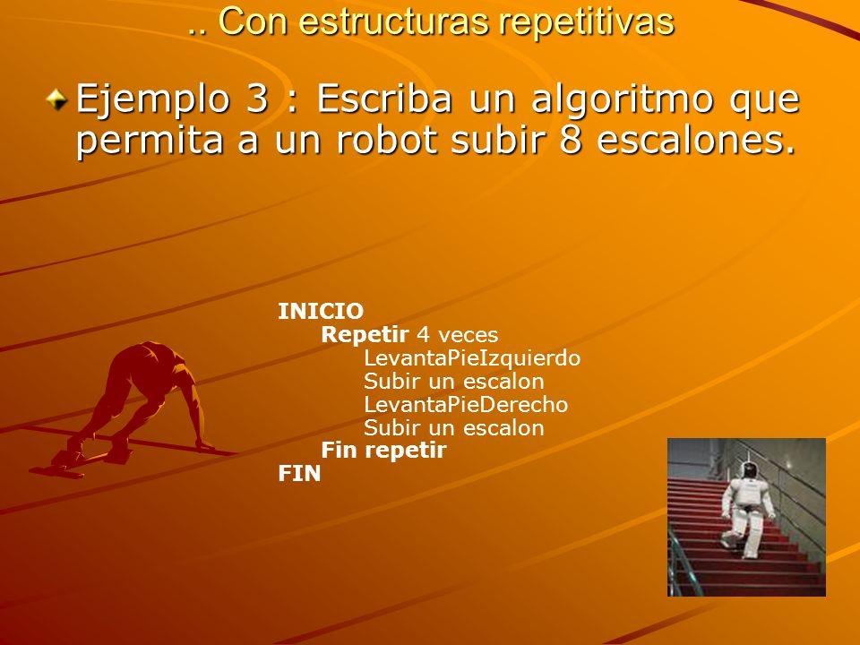 .. Con estructuras repetitivas Ejemplo 3 : Escriba un algoritmo que permita a un robot subir 8 escalones. INICIO Repetir 4 veces LevantaPieIzquierdo S