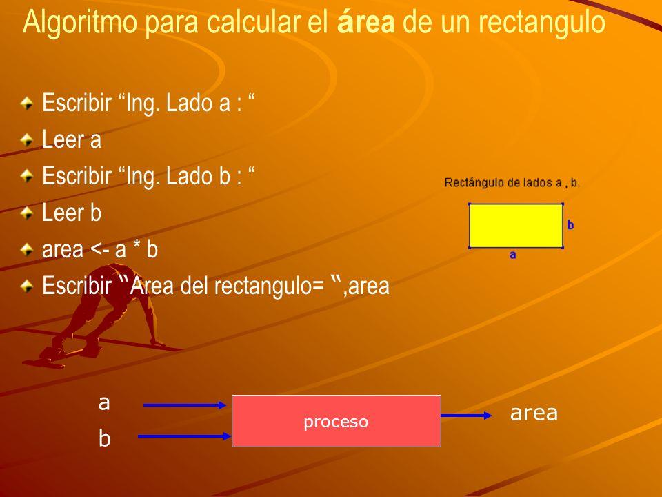 Algoritmo para calcular el á rea de un rectangulo Escribir Ing. Lado a : Leer a Escribir Ing. Lado b : Leer b area <- a * b Escribir Area del rectangu