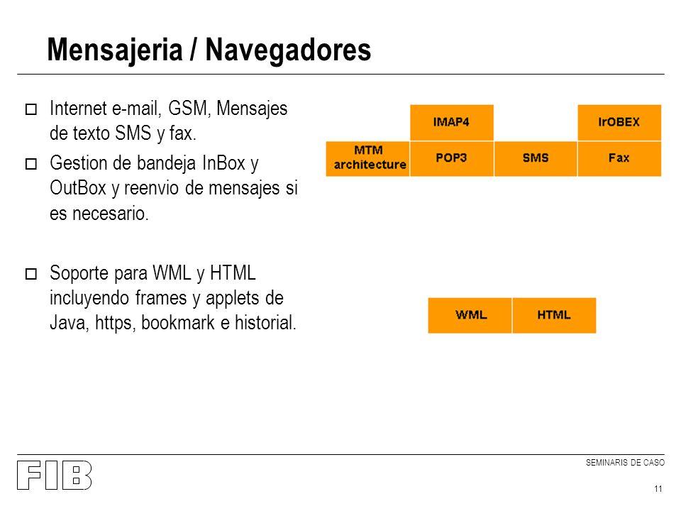 SEMINARIS DE CASO 11 Mensajeria / Navegadores o Internet e-mail, GSM, Mensajes de texto SMS y fax.