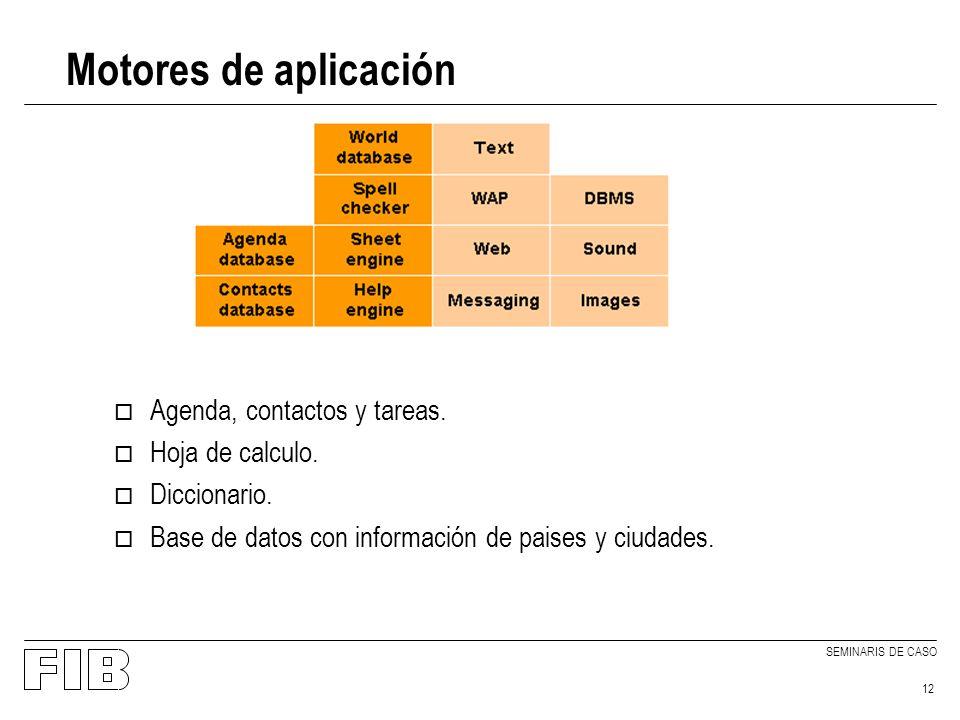 SEMINARIS DE CASO 12 Motores de aplicación o Agenda, contactos y tareas.