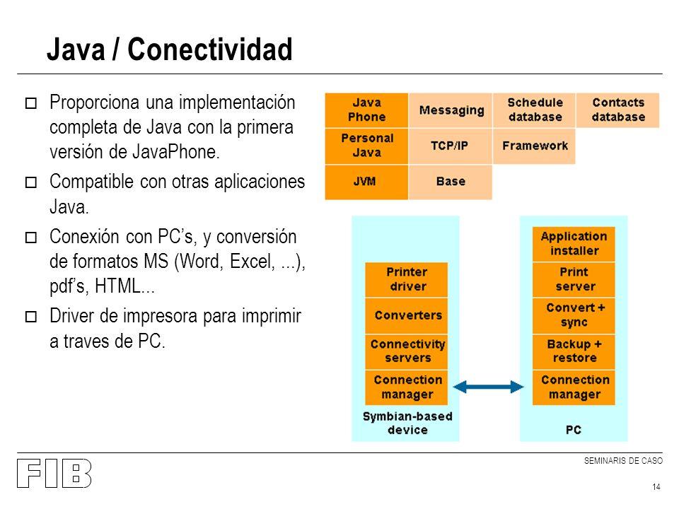 SEMINARIS DE CASO 14 Java / Conectividad o Proporciona una implementación completa de Java con la primera versión de JavaPhone.