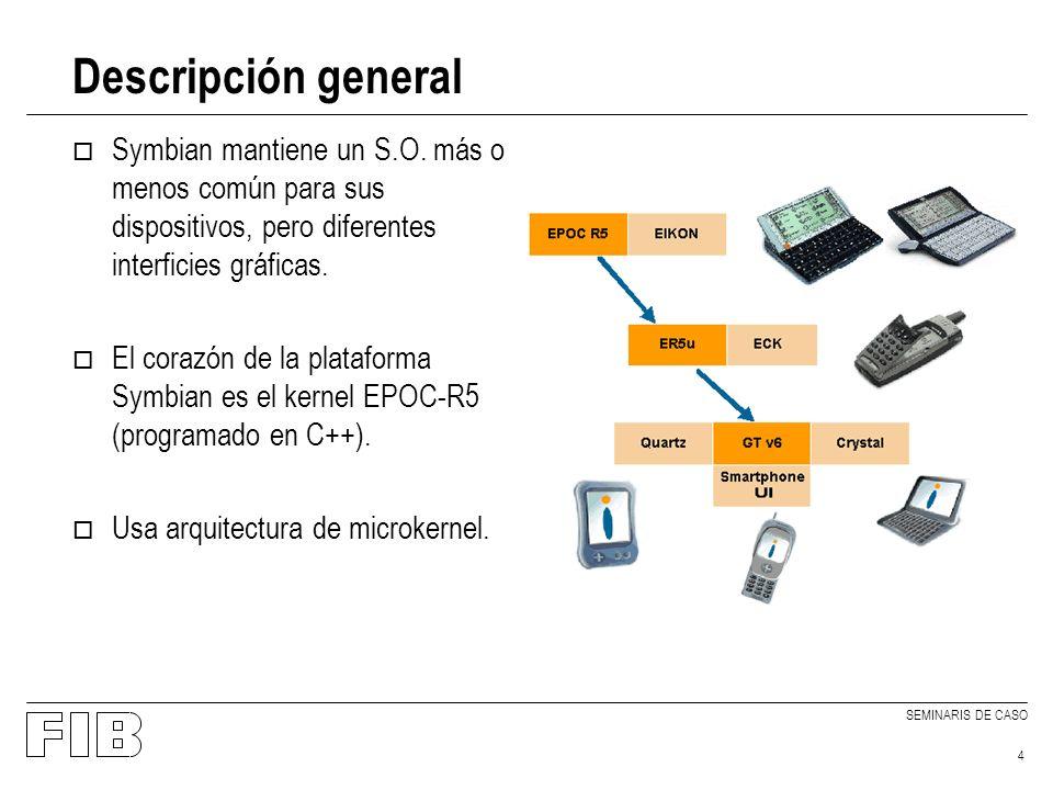 SEMINARIS DE CASO 4 Descripción general o Symbian mantiene un S.O.