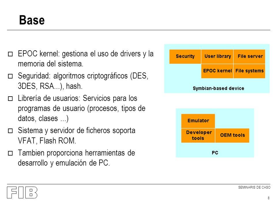SEMINARIS DE CASO 8 Base o EPOC kernel: gestiona el uso de drivers y la memoria del sistema.