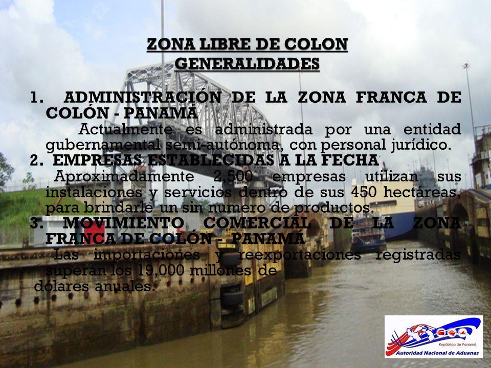 ZONA LIBRE DE COLON GENERALIDADES 1. ADMINISTRACIÓN DE LA ZONA FRANCA DE COLÓN - PANAMÁ Actualmente es administrada por una entidad gubernamental semi