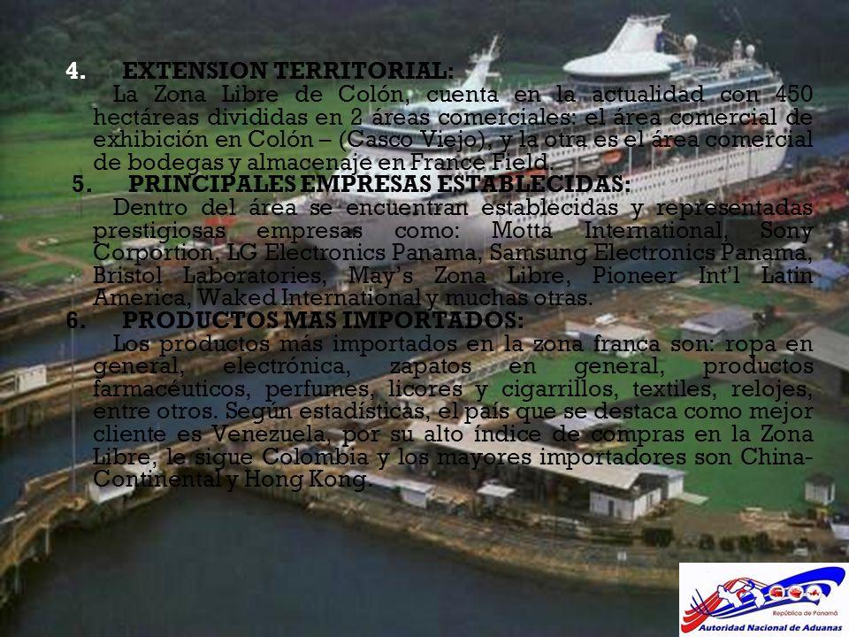 4. EXTENSION TERRITORIAL: La Zona Libre de Colón, cuenta en la actualidad con 450 hectáreas divididas en 2 áreas comerciales: el área comercial de exh
