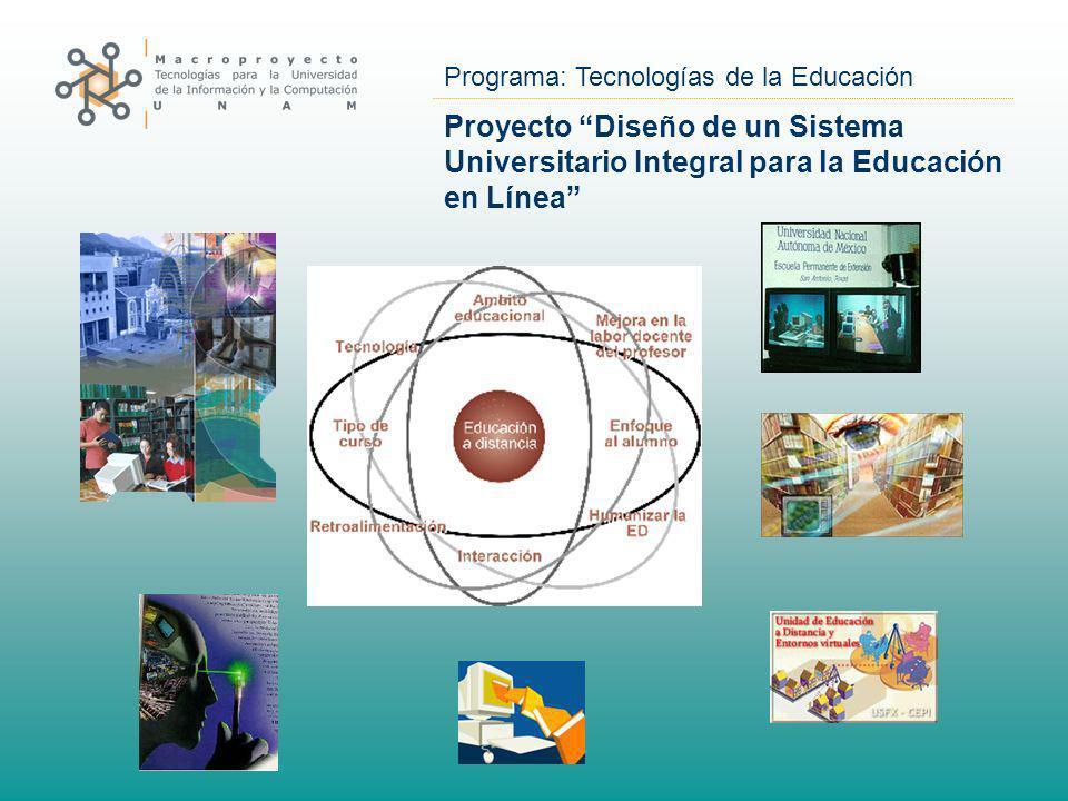 Programa: Tecnologías de la Educación Proyecto Diseño de un Sistema Universitario Integral para la Educación en Línea
