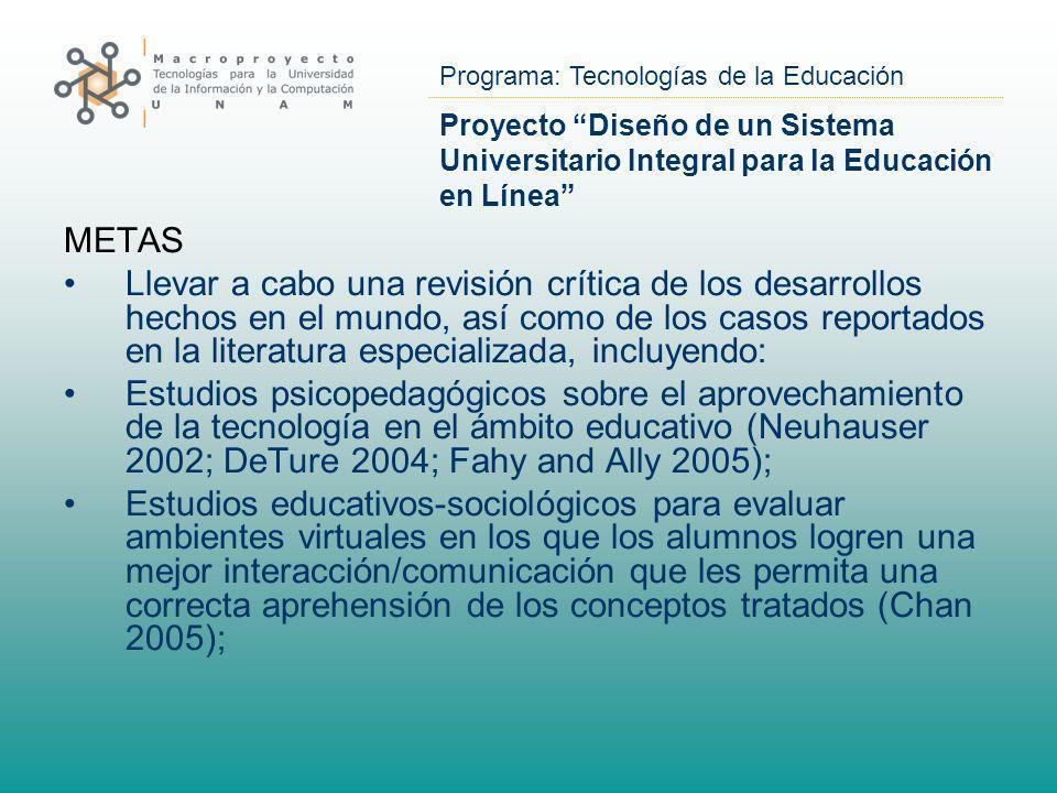 Programa: Tecnologías de la Educación Proyecto Diseño de un Sistema Universitario Integral para la Educación en Línea METAS Llevar a cabo una revisión