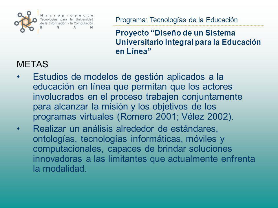 Programa: Tecnologías de la Educación Proyecto Diseño de un Sistema Universitario Integral para la Educación en Línea METAS Estudios de modelos de ges