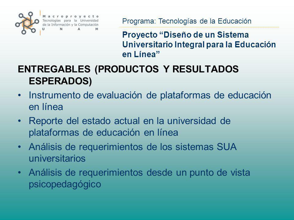 Programa: Tecnologías de la Educación Proyecto Diseño de un Sistema Universitario Integral para la Educación en Línea ENTREGABLES (PRODUCTOS Y RESULTA