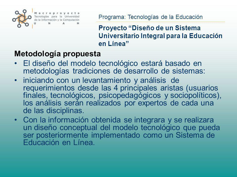 Programa: Tecnologías de la Educación Proyecto Diseño de un Sistema Universitario Integral para la Educación en Línea Metodología propuesta El diseño