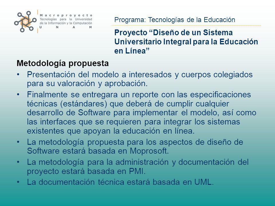 Programa: Tecnologías de la Educación Proyecto Diseño de un Sistema Universitario Integral para la Educación en Línea Metodología propuesta Presentaci