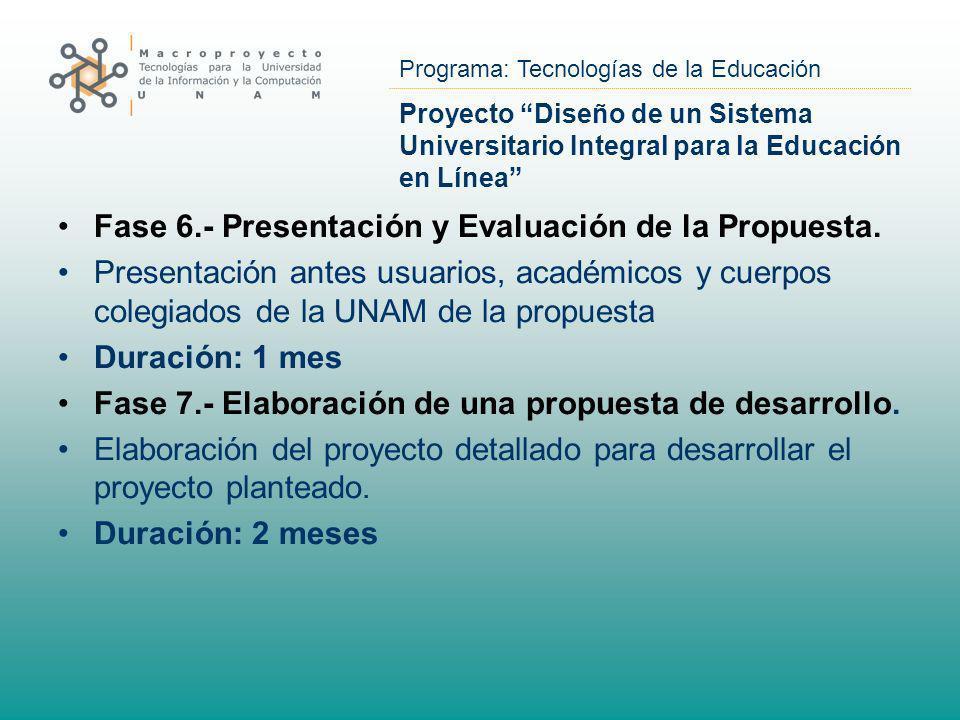 Programa: Tecnologías de la Educación Proyecto Diseño de un Sistema Universitario Integral para la Educación en Línea Fase 6.- Presentación y Evaluaci