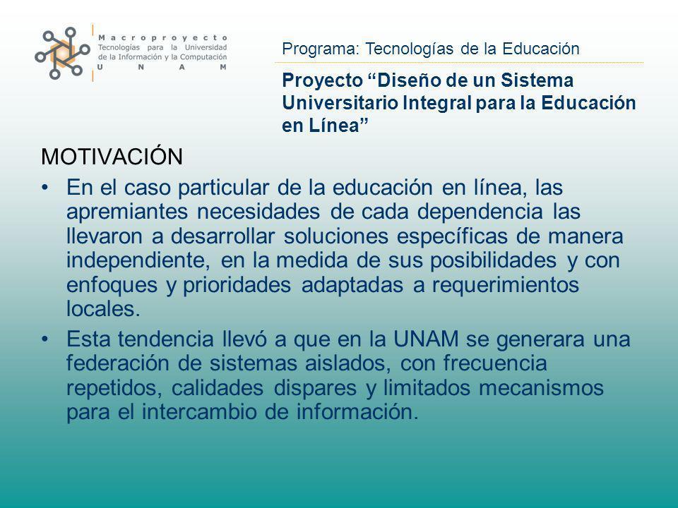 Programa: Tecnologías de la Educación Proyecto Diseño de un Sistema Universitario Integral para la Educación en Línea MOTIVACIÓN En el caso particular