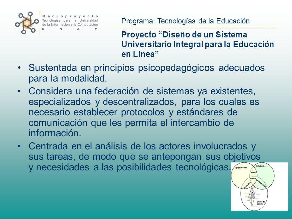 Programa: Tecnologías de la Educación Proyecto Diseño de un Sistema Universitario Integral para la Educación en Línea Sustentada en principios psicope