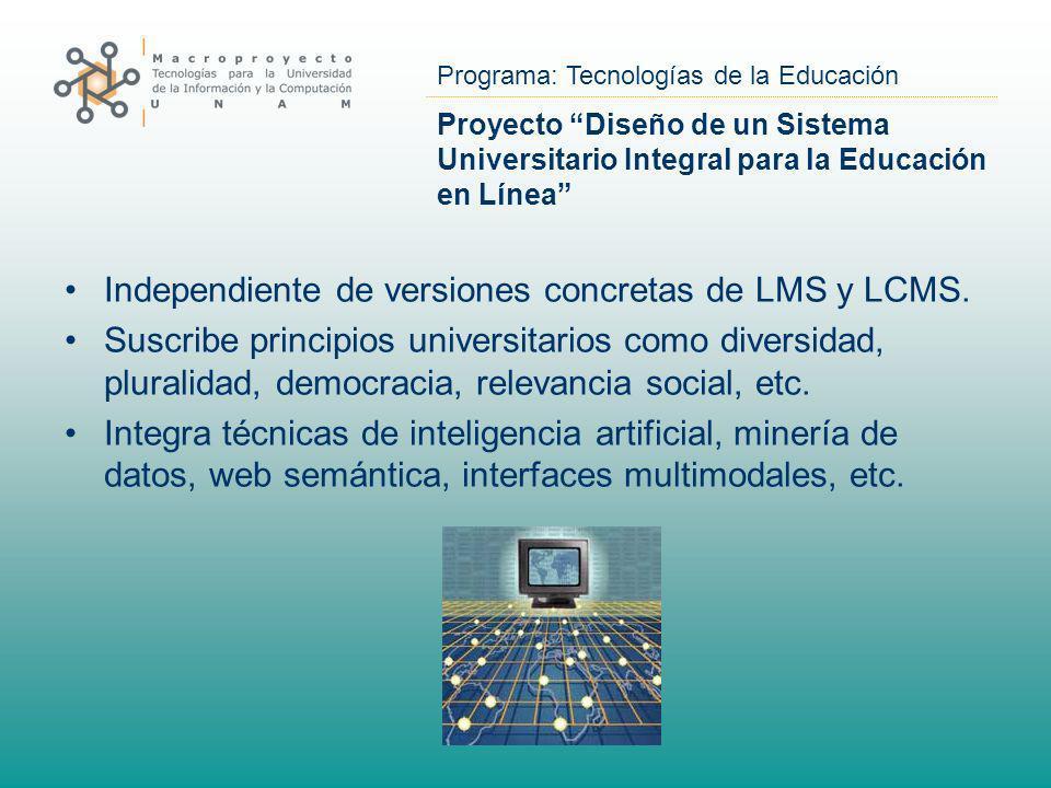 Programa: Tecnologías de la Educación Proyecto Diseño de un Sistema Universitario Integral para la Educación en Línea Independiente de versiones concr