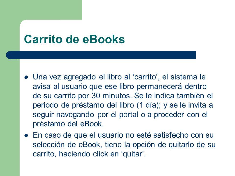 Carrito de eBooks Una vez agregado el libro al carrito, el sistema le avisa al usuario que ese libro permanecerá dentro de su carrito por 30 minutos.