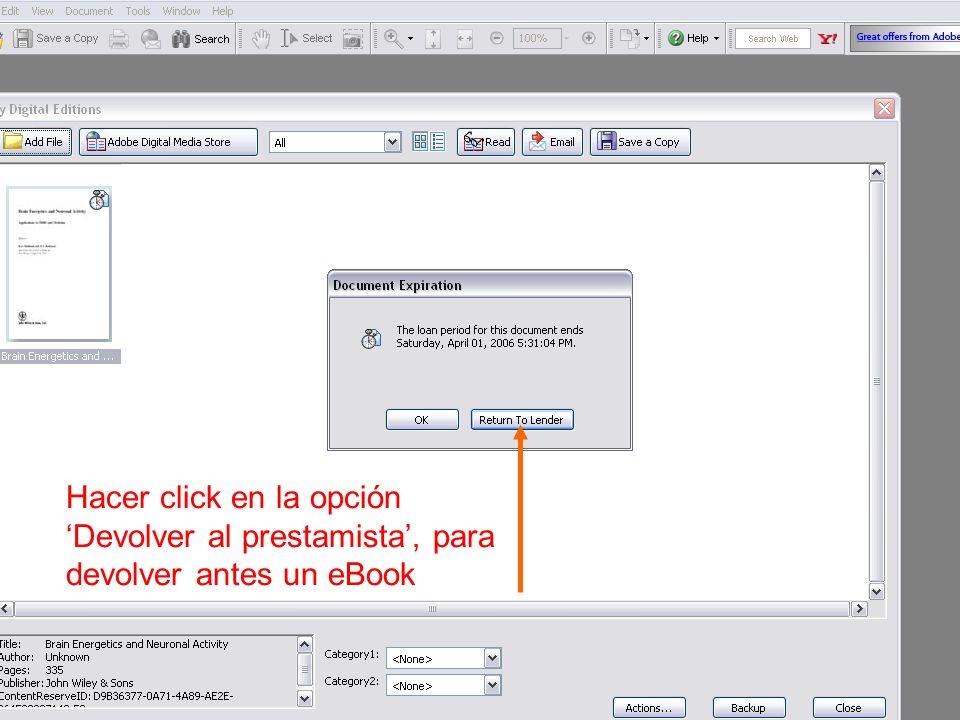 Hacer click en la opción Devolver al prestamista, para devolver antes un eBook