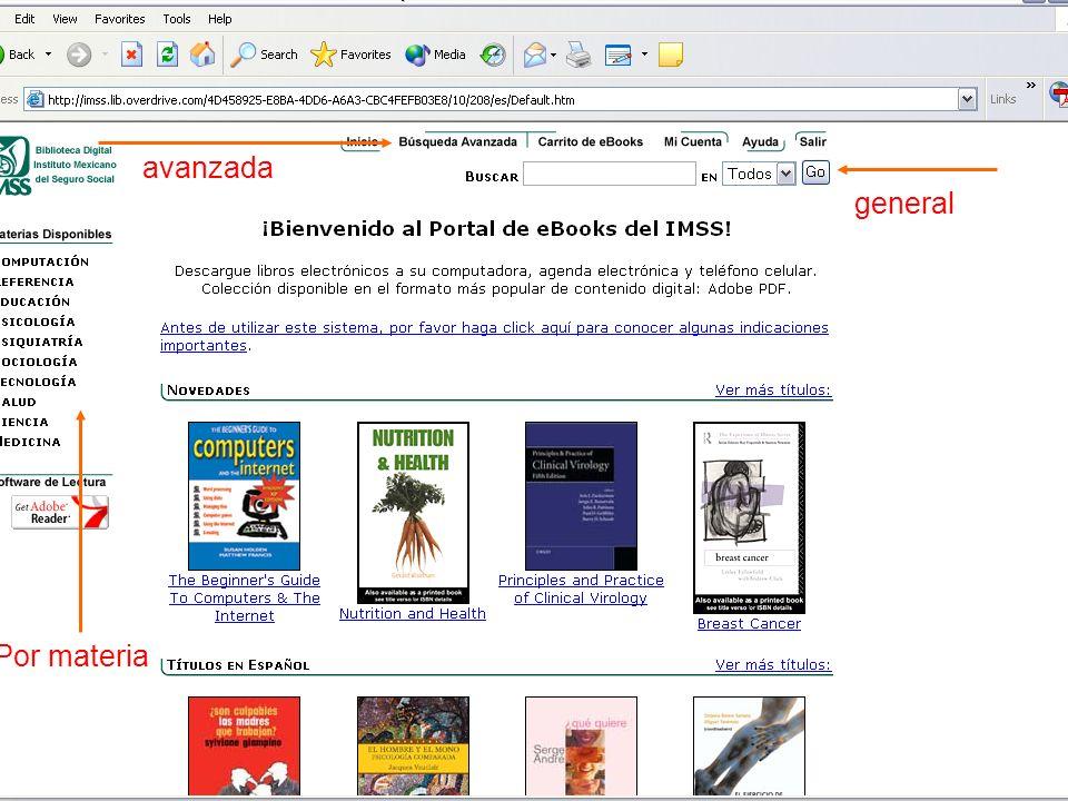 Búsqueda Avanzada Puede realizar una búsqueda avanzada de libros a través de varios campos de búsqueda como se muestra a continuación: