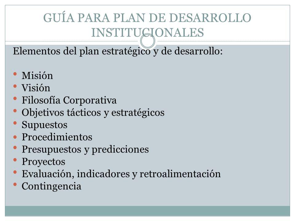 GUÍA PARA PLAN DE DESARROLLO INSTITUCIONALES Elementos del plan estratégico y de desarrollo: Misión Visión Filosofía Corporativa Objetivos tácticos y
