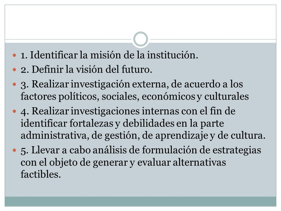 1. Identificar la misión de la institución. 2. Definir la visión del futuro. 3. Realizar investigación externa, de acuerdo a los factores políticos, s