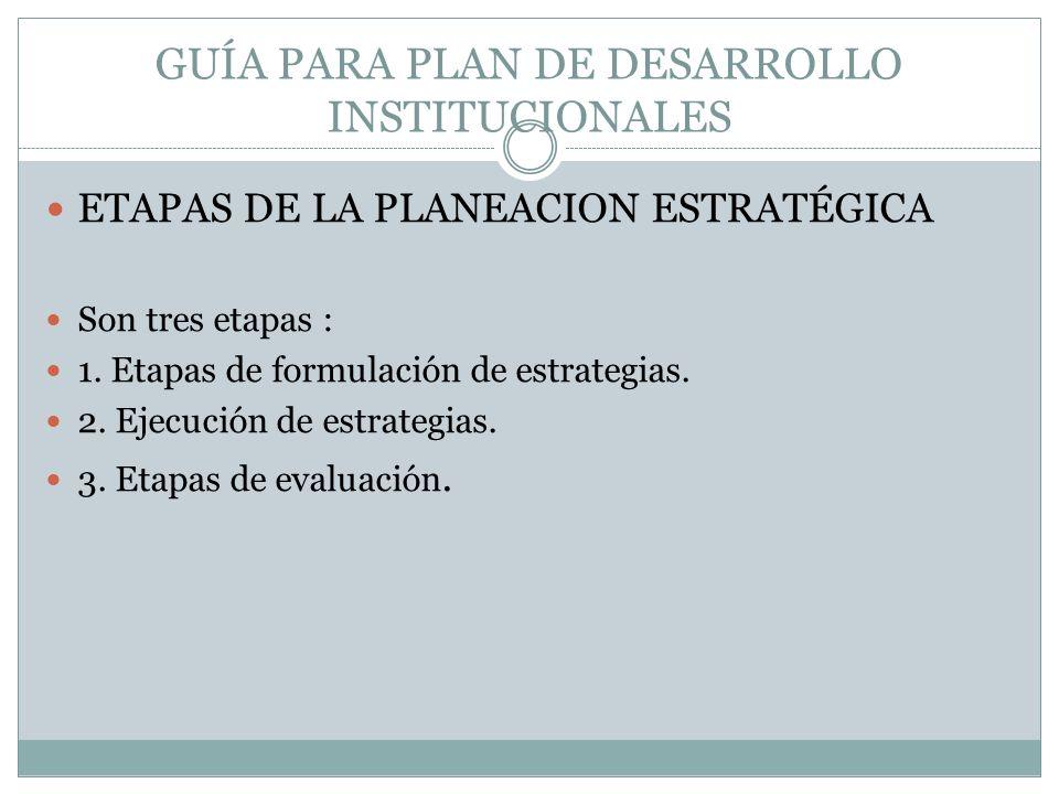 GUÍA PARA PLAN DE DESARROLLO INSTITUCIONALES ETAPAS DE LA PLANEACION ESTRATÉGICA Son tres etapas : 1. Etapas de formulación de estrategias. 2. Ejecuci