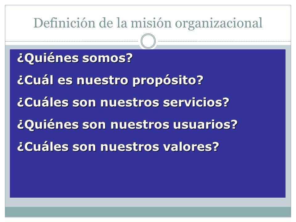 Definición de la misión organizacional ¿Quiénes somos? ¿Quiénes somos? ¿Cuál es nuestro propósito? ¿Cuál es nuestro propósito? ¿Cuáles son nuestros se