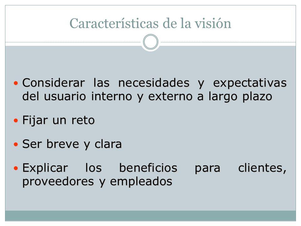 Características de la visión Considerar las necesidades y expectativas del usuario interno y externo a largo plazo Considerar las necesidades y expect