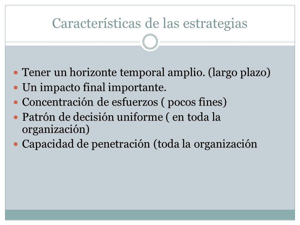 Características de las estrategias Tener un horizonte temporal amplio.