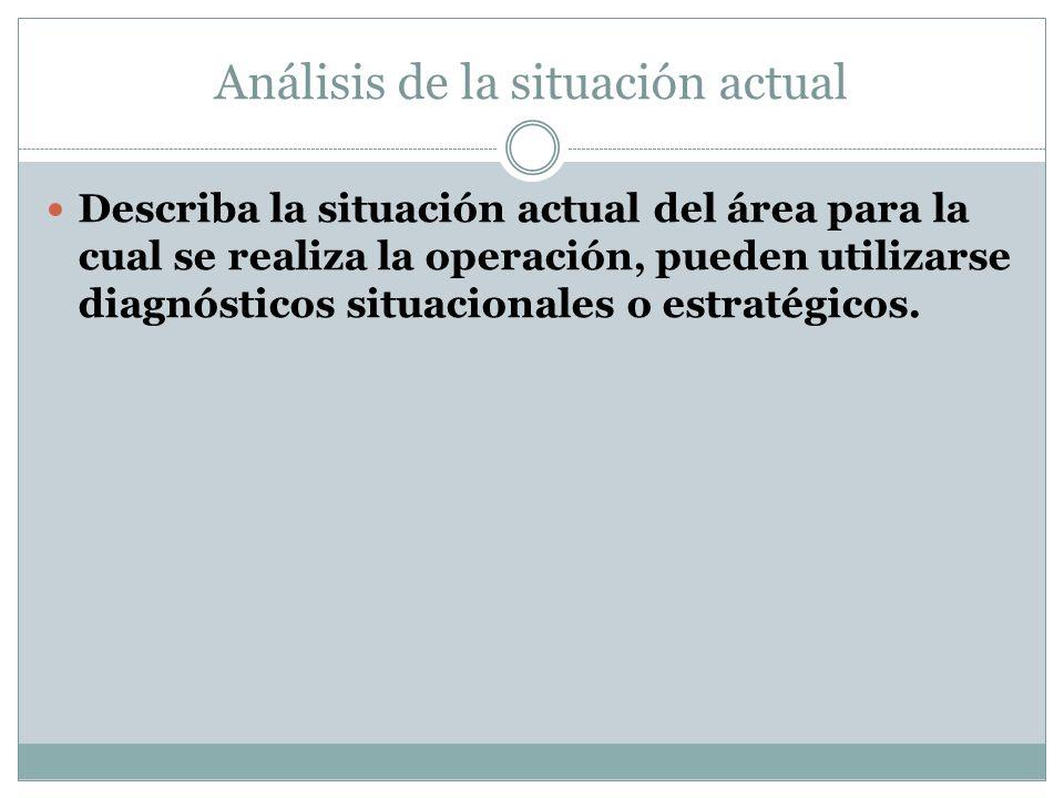 Análisis de la situación actual Describa la situación actual del área para la cual se realiza la operación, pueden utilizarse diagnósticos situacionales o estratégicos.