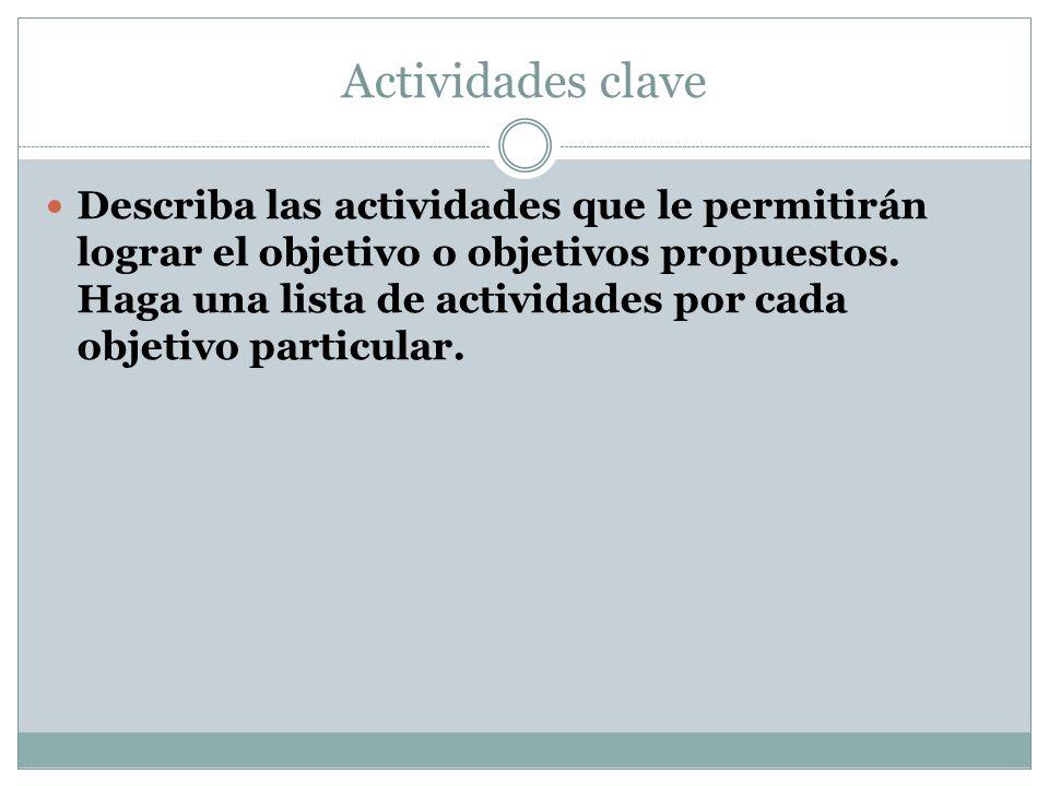 Actividades clave Describa las actividades que le permitirán lograr el objetivo o objetivos propuestos.