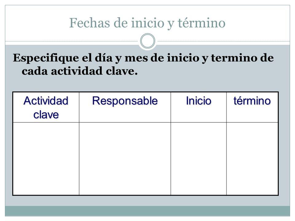 Fechas de inicio y término Especifique el día y mes de inicio y termino de cada actividad clave. Actividad clave ResponsableIniciotérmino